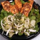 maple glazed salmon  w pickled cucumber salad